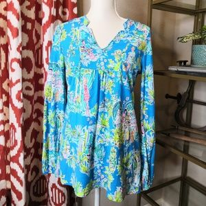 Lilly Pulitzer Pullover Blouse Medium Cotton Blue